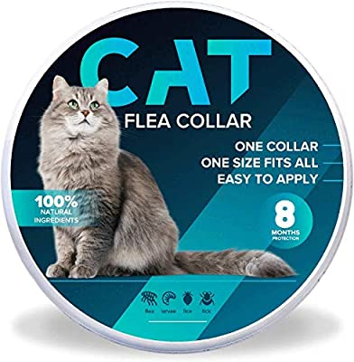 RACXERS Cat Collar Prevention for Cats, One Size Fits All, 8 Months Protection, Natural, Adjustable and Waterproof