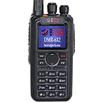 BTECH DMR-6X2  DMR and Analog  7-Watt Dual Band Two-Way Radio  136-174MHz VHF & 400-480MHz UHF  with GPS and Recording Includes Full Kit with 2 Batteries Programming Cable and More