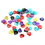 fitTek® Set de 50 Botones de Nácar Corazón 2 Agujeros 15mm Varios Colores