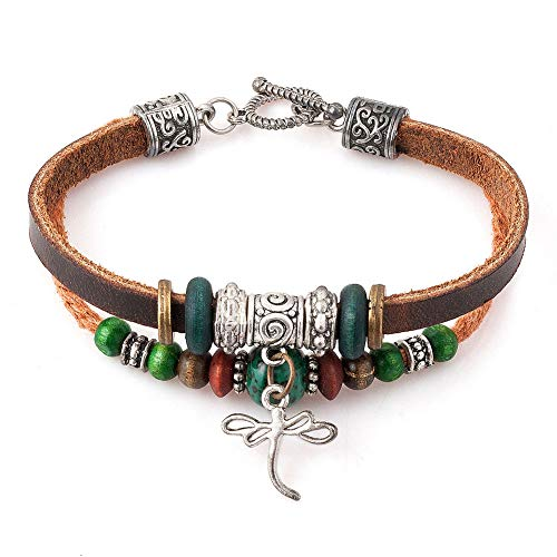 Moonlight Collections Western Jewelry Leather Bangle Rustic Cuff Bracelets (Dragonfly)