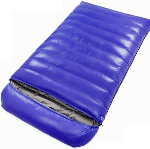 Sac de Couchage, Double Couple Sac de Couchage intérieur et extérieur Camping extérieur Ultra-léger pour Adultes,bleu