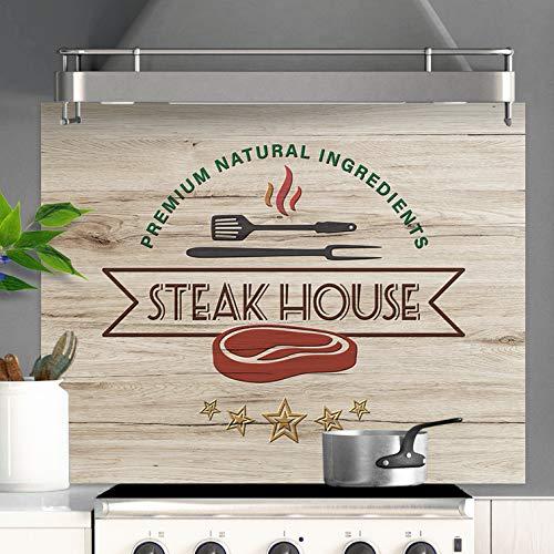 Fond de Hotte Steak House Effet Bois Crédence Cuisine - 60x70cm & 70x90cm (70 x 90 cm)