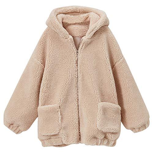 JIER Damen Teddyjacke mit Kapuzen Plüsch Jacke Herbst Winter Plüschjacke Übergangsjacke Outwear Strickjacke Langarm Teddy-Fleece Mantel Coat (Weiß,XXX-Large)