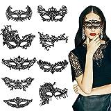 Wisdom1674 Máscara de Mascarada de Encaje, Mascarada Veneciano Máscaras de Mujer Máscara de Baile de Carnaval, Máscara de Encaje Gótico para Fiesta Temática, Juego de Roles, 9 Piezas