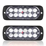 Pack of 2 Aluminum Housing Clear Lens White LED Reverse Backup Running Lights, AT-HAIHAN DOT Compliant Waterproof Surface Mount Lighting for Truck Tractor Jeep RV