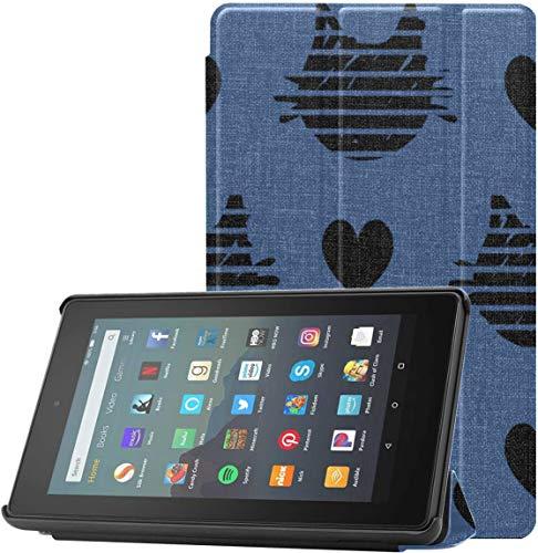 Funda para Tableta Amazon Kindle Fire 7 Completamente Nueva (novena generación, versión 2019), Funda de Soporte Triple ultradelgada y Liviana con Reposo/activación automático, patrón Abstracto de g