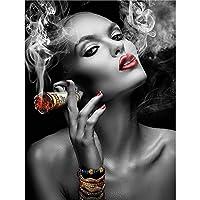 キャンバスプリント壁アート画像モダンブラックホワイトセクシーな喫煙女性壁にキャンバス絵画ポスターは家のリビングルームの装飾のための壁アート画像を印刷します-A_40X60Cm_No_Frame