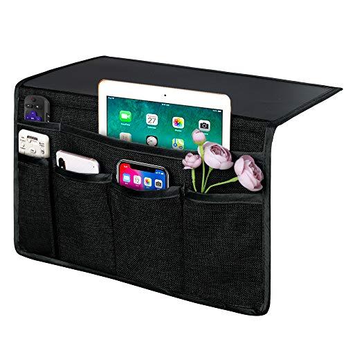 Joywell - Organizador de mesilla de noche con 6 bolsillos, soporte de cama para tablet, teléfono, anteojos, iPad, colchón y sofá,...
