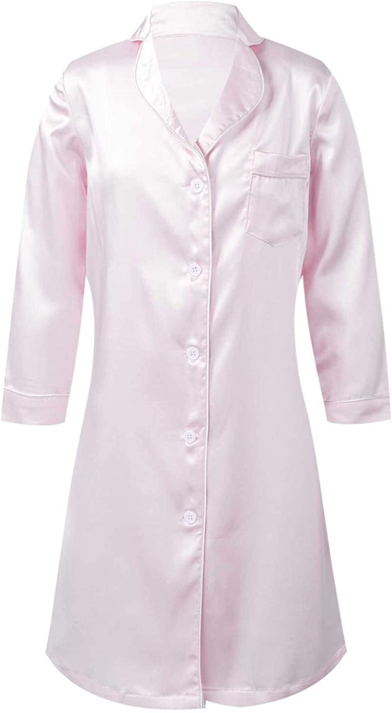 Freebily Kids Girls Silk Satin Sleepwear Basic Long Sleeve Button Closure Loungewear Nightgown for Spa Party Pink 16