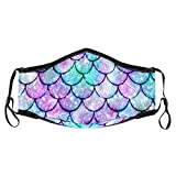 Face Mouth Cover for Women Men,Mermaid Colorful Scales Adjustable Reusable Windproof Fashion Mas-k Protective with 6 Pcs Filter, Washable Balaclavas