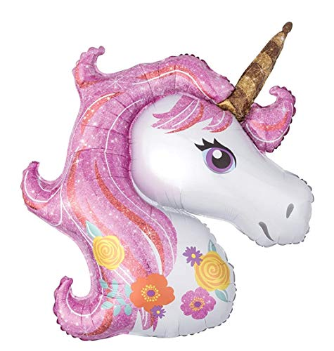 Palloncino Festa di Compleanno -Unicorno Rosa - Con Cannuccia - Compatibile Aria - Dimensioni 40 x 40 cm