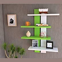 Wood Decor City Wooden Wall Mounted Shelves for Living Room and Home Decoration, Office Decor - Set of 4,Green & White