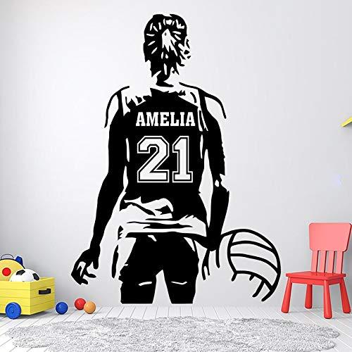 Nombre y número de voleibol personalizado Calcomanías deportivas de voleibol para pared Decoración del hogar para habitación de niña Niños Adolescentes Dormitorio Pegatina Mural A1 42x58cm