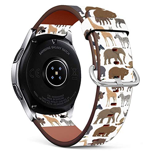 Replacement Leather Printing Wristbands Compatible with Galaxy Watch3 (45mm) / Galaxy Watch (46mm), Standard 22mm Strap - Wild Animals Safari