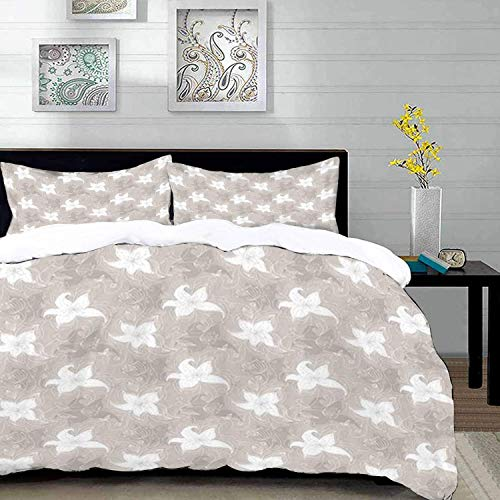 Qoqon bedding - Duvet Cover Set, Doodle,Hand Drawn Style Flowers with Swirling Lines Artistic Spring Blossoms,Warm Taupe and Whi,Microfibre Duvet Cover Set with 2 Pillowcase 50 X 75cm