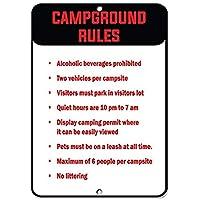 アルミメタルノベルティ危険サイン、キャンプ場ルールサイン、警告ハザードメタルブリキサイン屋内外に取り付けやすい危険エリア付きメタルサイン