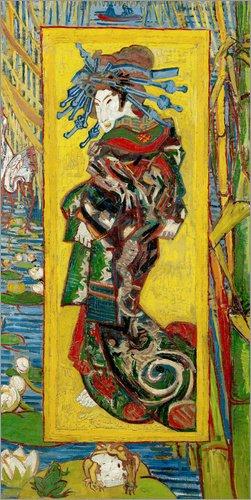 Lienzo 50 x 100 cm: Japonaiserie: Courtesan or Oiran de Vincent van Gogh / Bridgeman Images - cuadro terminado, cuadro sobre bastidor, lmina terminada sobre lienzo autntico, impresin en lienzo