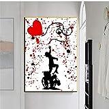 ImpresióN De Carteles De Lienzo Banksy Child Street Graffiti Chasing Love Globo Arte De La Pared Pintura ImáGenes Para La Sala De Estar DecoracióN Del Hogar 80x110cm Sin Marco