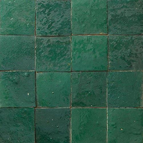 Casa Moro marokkanische Zellige Fliesen dunkelgrün 10x10 cm 1 qm   Kunsthandwerk aus Marokko   Schöne Wanddekoration im Bad Küche Flur & Küchenrückwand   Z191