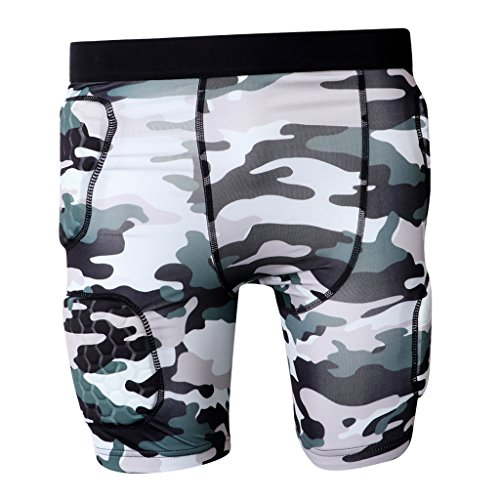Sports Kompressionsshirt Kurzarm Unterhemd Shirt Funktionswäsche Camo Kompressionsshorts Funktionswäsche Laufen Shorts - Tarnung Shorts, M