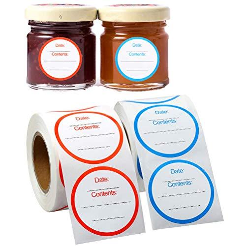 SevenMye 750 etichette rimovibili per congelatore, 3 x 7 cm, 2 rotoli di adesivi per conservare gli alimenti, frigorifero e congelatore, etichette di carta adesive (rosso blu)