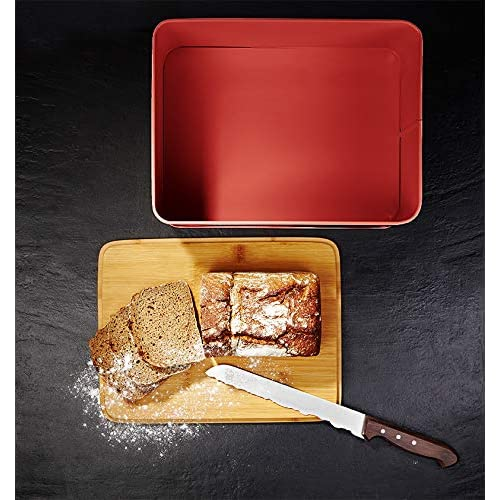 Lumaland Bread Bin with Bamboo lid - Red