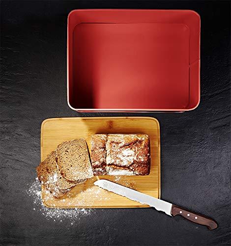 Lumaland Bread Bin with Bamboo lid - Red