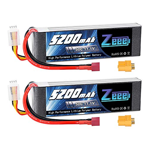 Zeee 11.1V 50C 5200mAh 3S Lipo Battery with Deans and XT60 Connector Soft Case for RC Plane DJI Quadcopter RC Airplane RC Helicopter RC Car Truck Boat(2 Packs)