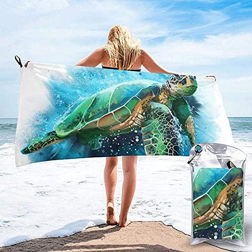 WJSQJ Toalla De Playa De Microfibra De Secado Rápido Tortuga Marina Toalla De Viaje Súper Absorbente Suave Ligera Y Compacta para Nadar Camping Yoga 70X140Cm