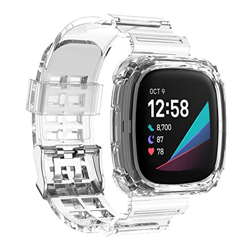 ARESH Fitbit Versa 3 Watch Sports Band With Case