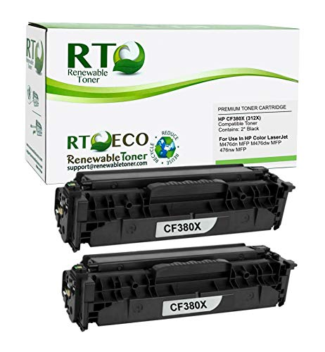 Renewable Toner Compatible Toner Cartridge High Yield Replacement for HP 312X CF380X for Laserjet Pro MFP M476 (Black, 2-Pack)