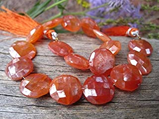 Jewel Beads Natural Beautiful jewellery Carnelian beads diamond finish faceted coins 12mm 8 inch strandCode:- JBB-43950