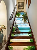 FLFK 3D Playa de palmeras de verano auto-adhesivos Pegatinas de Escalera pared pintura vinilo Escalera calcomanía Decoración 39.3 pulgadas x7.08 pulgadas X 13Piezas