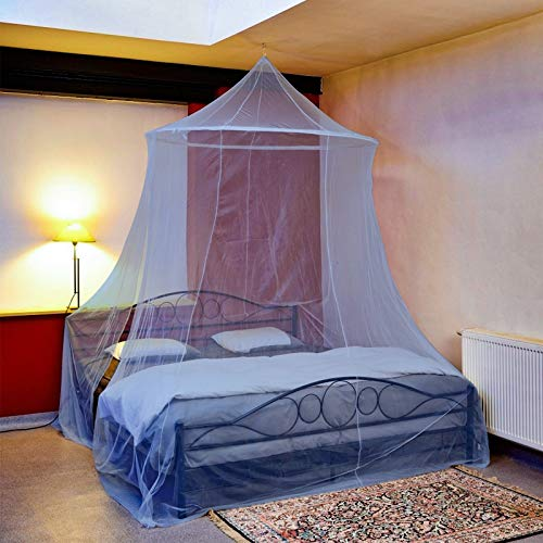 FGen Moskitonetz, Betthimmel, Universelle Kuppelabdeckung, Einfach zu Installieren, Geeignet für Kinderbett, Einzelbett, Doppelbett, Blau