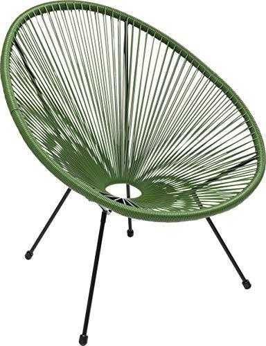 Kare Design Sessel Acapulco Grün, moderner Acapulco Sessel, Gartenstuhl, Outdoorstuhl, Relaxsessel, Stuhl, Wetterfest, XXL Retro Chillsessel Outdoorgeeignet (H/B/T) 85x73x78cm