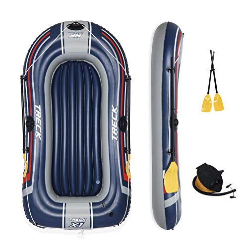 Bestway Hydro-Force Treck X2 Inflatable Dinghy Raft Boat with Oars and Pump, 2 Adult and 1 Child Capacity