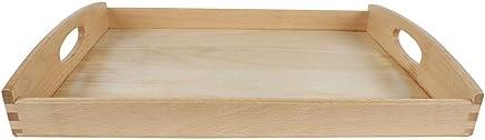 Preisvergleich für Tablett Serviertablett Frühstückstablett mit Griffen aus Buchenholz 40 x 30 cm