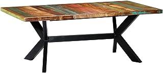 vidaXL Table à Dîner Bois de Récupération Table de Salle à Manger Meuble de Cuisine Table de Repas Mobilier à Dîner Maison...
