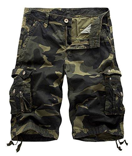 Aieoe Homme Pantacourt Camouflage Cargo shorts de Loisirs Respirant Bermuda Militaire Confortable Multi Poches Casual Loisir - Vert Foncé