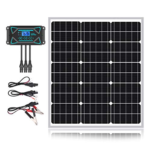 50W 12V Solar Panel Kits- 12 Volt 50 Watt Mono Crystalline Solar Panel + Intelligent 10A Charge Controller- Perfect Solar Battery Charger & Maintainer for Car, RV, Boat, Marine, Trailer, Gate Opener