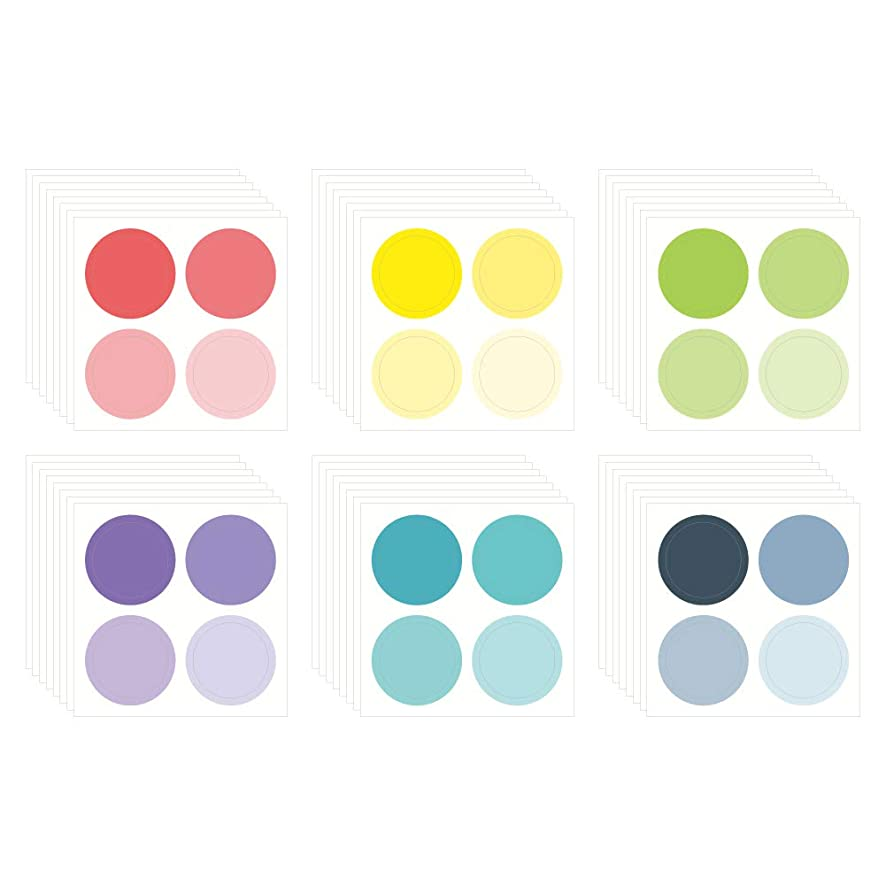 Monolike Circle Stickers - Solid Round Dot Stickers Large Size Set, 6 Type Stickers 48 Sheets