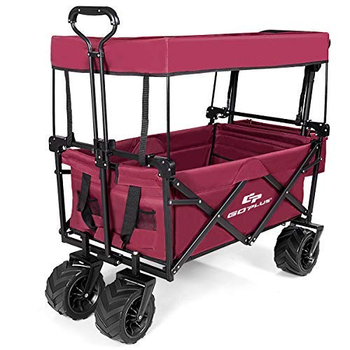 COSTWAY Folding Wagon Trolley Cart with Removable Canopy, Front Pocket, 4...