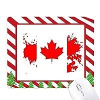 カナダ味とメープルリーフ旗 ゴムクリスマスキャンディマウスパッド