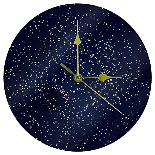 Yoliveya Reloj de pared redondo silencioso abstracto, hermoso brillo decorativo, no hace tictac, silencioso, para regalo, hogar, oficina, cocina, guardería, sala de estar, dormitorio, 25 cm