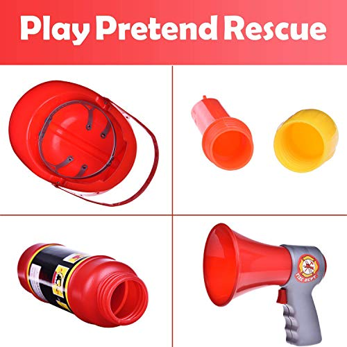 Liberty Imports 10 Pcs Fireman Gear Firefighter Costume Role Play Toy Set for Kids with Helmet and Accessories