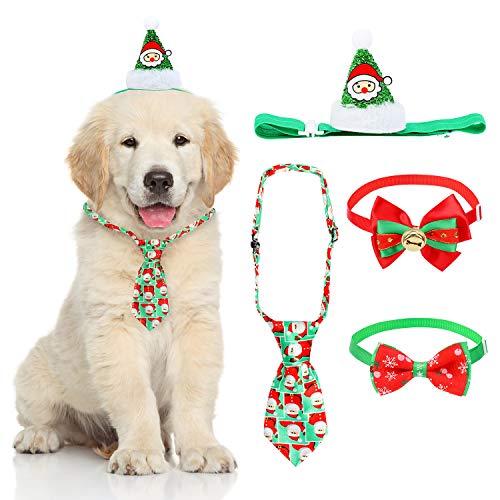 QKURT 4PCS 4pcs Sombrero de Santa Claus, Corbata de Pajarita para Perro Gato Disfraces de Navidad Cosplay para...