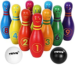 Smooth sturdy high quality 10 beautiful rainbow coloured wooden skittles with the most common emotional facial expressions and feelings, 1-10 numbers and on the other side with names of the emotions and 2 wooden balls in black and white (yin and yang...