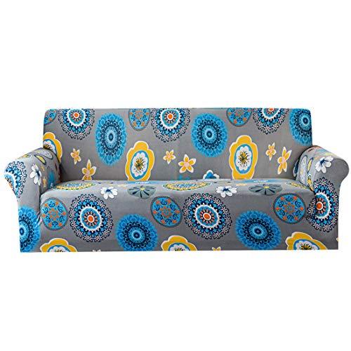CHOBES Funda elástica para sofá impresa, antideslizante, lavable, protector de muebles para sofá de 3 plazas (3 plazas), color gris plateado
