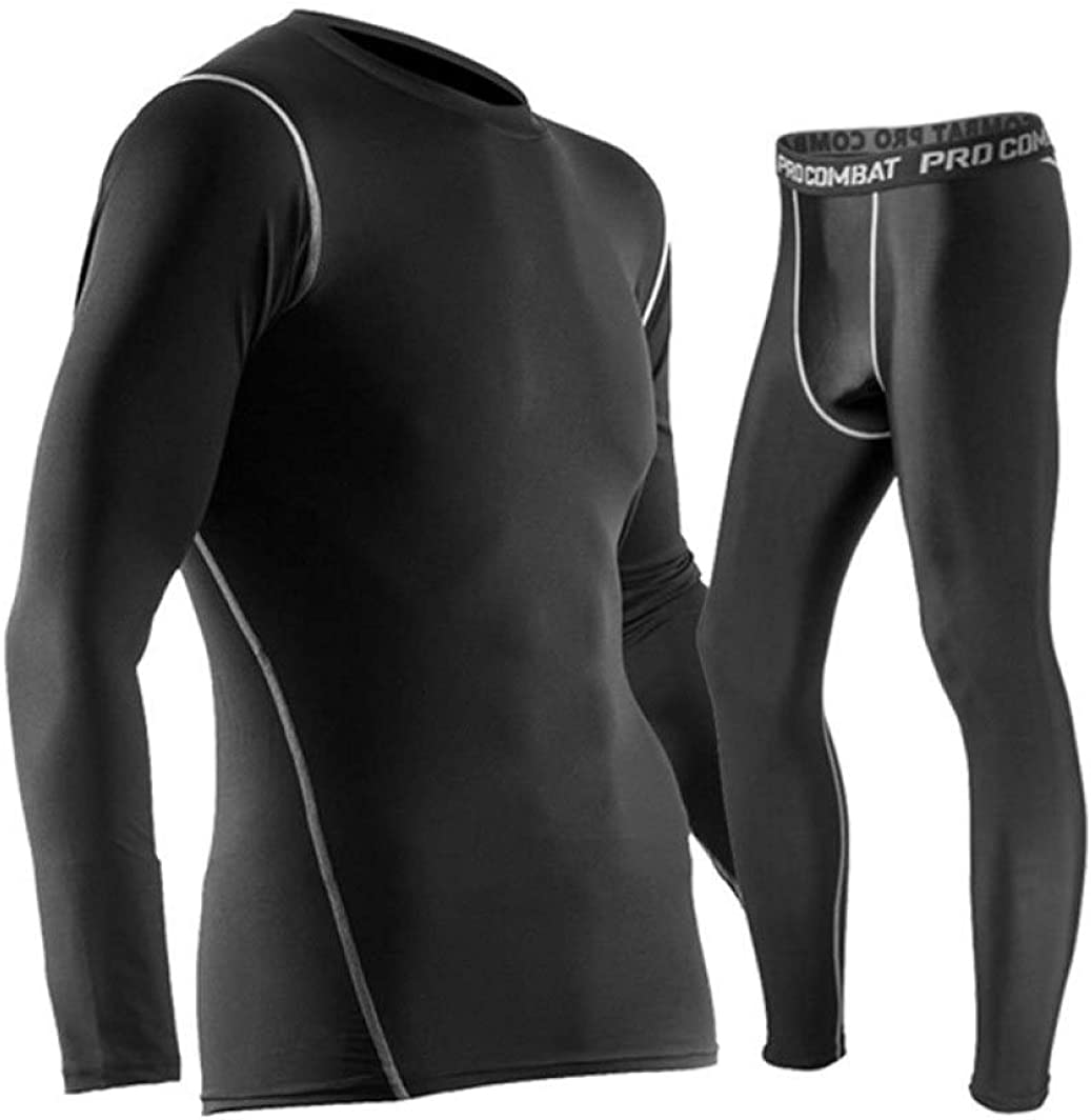 Mens Long Thermal Underwear Stretchy Sport Winter Base Layering Set Top and Bottom