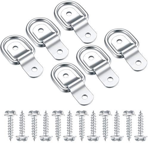 6 Stück D Ring Zurröse, D-Ring Zurring Aufbauring Ring, Anhänger Zubehör D Ringanker mit 12 Schrauben für Campingausrüstung, PKW, LKW, Boot